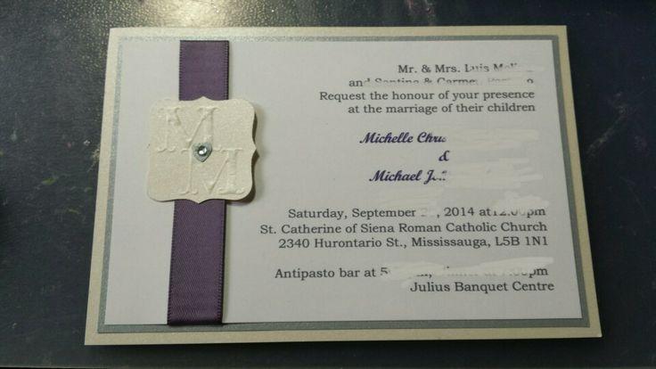 Wedding invitations purple silver and pearl