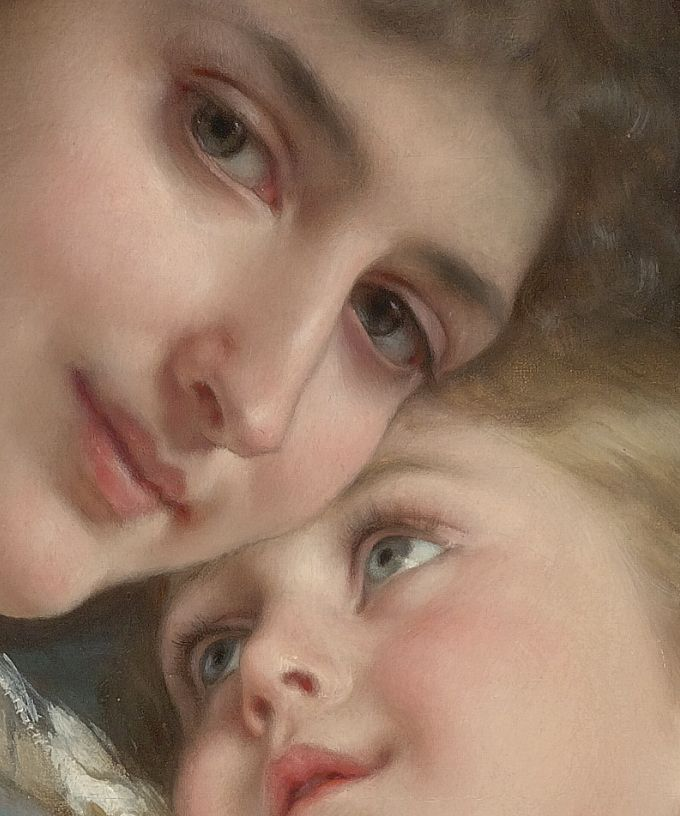 (Detail) A Tender Embrace,1887,Emile Munier.