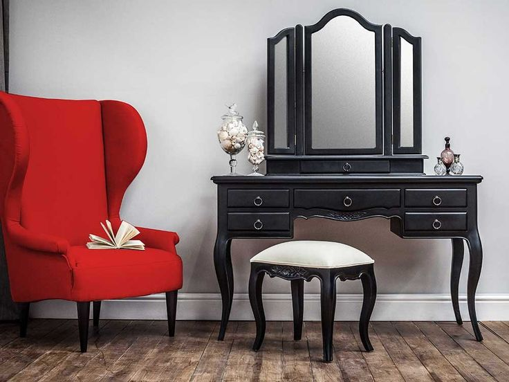 Antique style dresser with mirror and stool