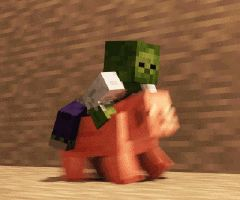 Minecraft GIF slamacow zombie pig race adventure excitement epic mob stone cave dim winner pet happy nice white clothed different