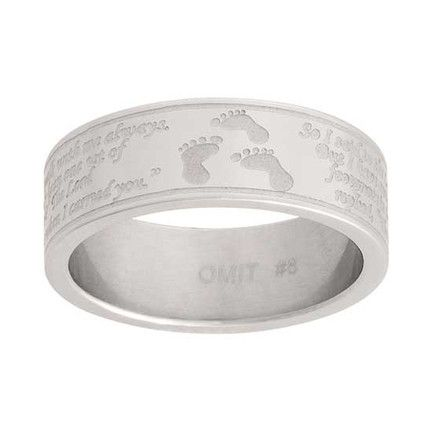 Footprints Poem Stainless Steel Ring (Size 6)