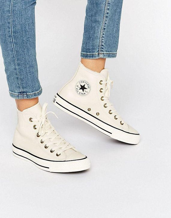 cb13e3502397 White Converse Leather High Tops Fur Lined Ivory Bone w  Swarovski Crystal  Rhinestone Bling Jewel Ch