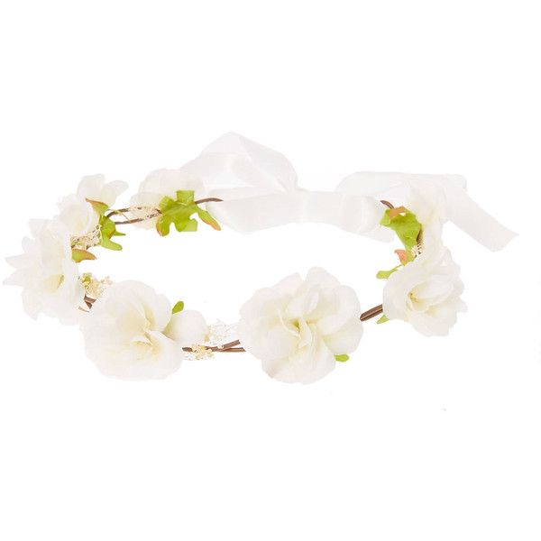 White Rosette Hair Garland Flower Crown ❤ liked on Polyvore featuring accessories, hair accessories, flower garland, rose floral crown, white garland, floral garland and rose garland