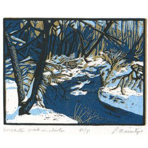 Ancaster Creek, reduction wood engraving, 5 colour, 3x4 inches