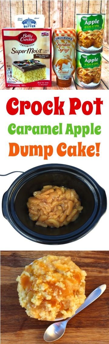 Easy Caramel Apple Dump Cake Recipe!  Capture the flavors of Fall in this easy 4 ingredient Slow Cooker dessert!  So simple and SO delicious!!