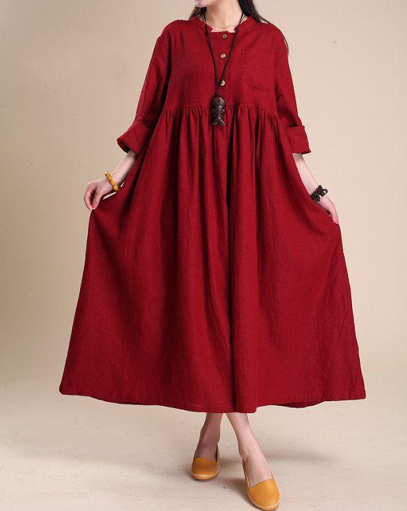 Atmosphériques lin Maxi robe femmes tunique longue robe simple par MaLieb sur Etsy https://www.etsy.com/fr/listing/94062585/atmospheriques-lin-maxi-robe-femmes