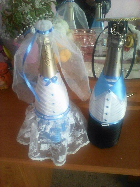 Купить Свадебное оформление бутылок - бутылки свадебные, оформление свадьбы, оформление бутылок, свадьба