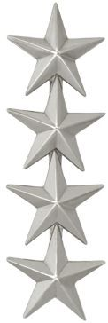 """AIR FORCE OFFICER RANK, GENERAL POINT TO POINT 3/4"""", SILVER"""