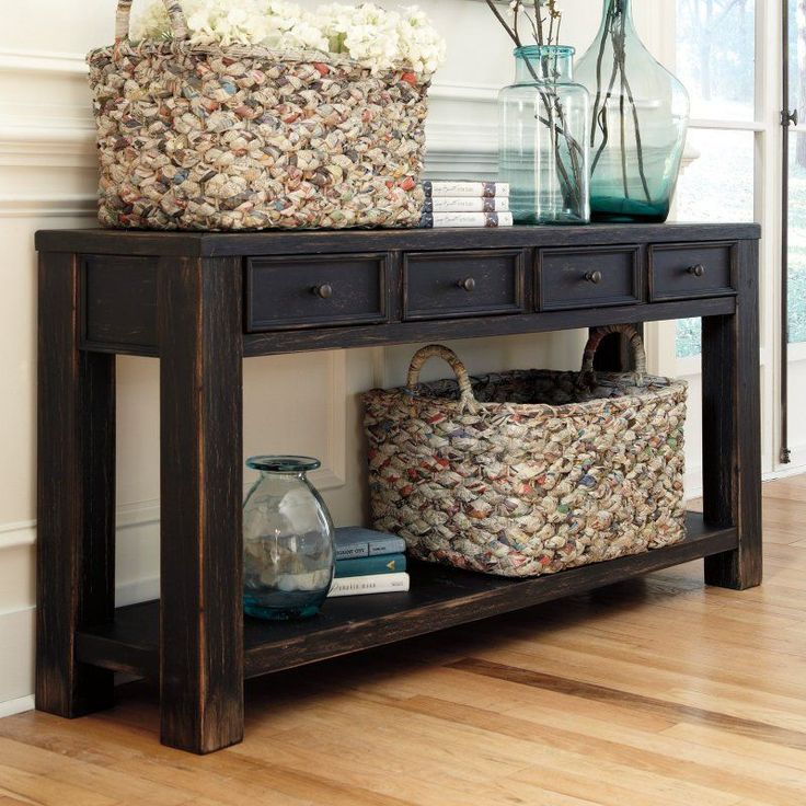 Knock-off Pottery Barn console: Signature Design By Ashley Gavelston Rectangular Black Sofa Table - Console Tables at Hayneedle