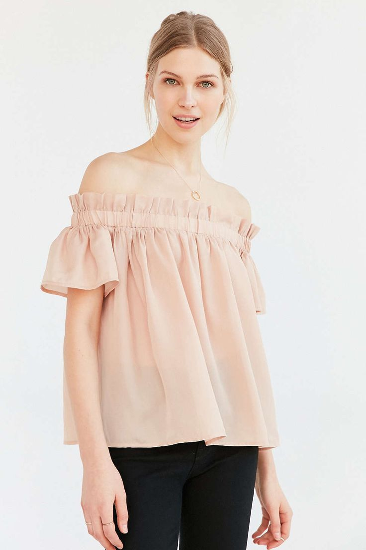 Lucca Couture Ruffle Off-The-Shoulder Blouse @Urbanoutfitters $49