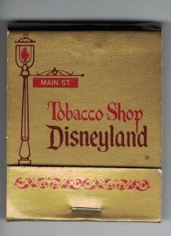 Disneyland Tobacco Shop matchbook, from Disneyland Main Street. All matches are present. This is from 1991 or prior, as the Tobacco Shop was closed after that year.