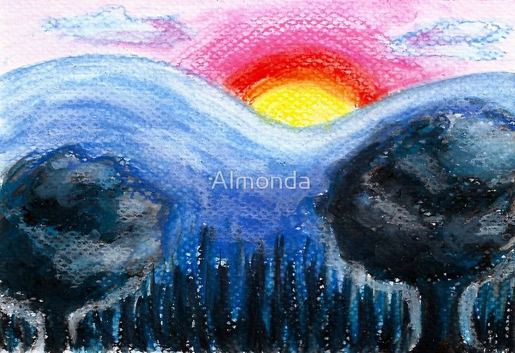 Colorful Sunset Landscape. Colorful landscape of a sunset, mountains and tree silhouettes in chalk pastels on watercolor paper.