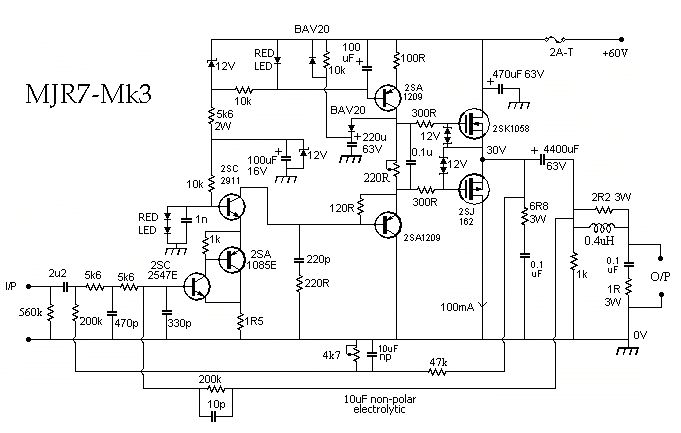 Car Audio Capacitor Wiring Diagram Mjr7 Mk3 Mosfet Audio Power Amplifier 70w Hubby Project