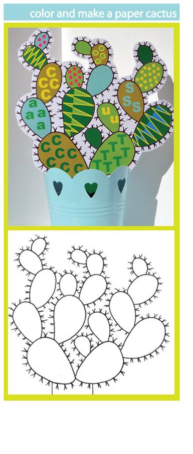 Make this fun decorative paper cactus in a pot - maintenance free! Template free to download