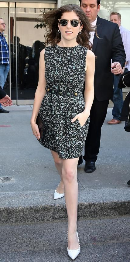 Anna Kendrick in a printed dress.