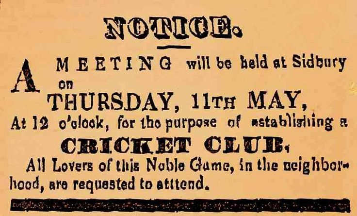 Sidbury Cricket Club was founded in May, 1843, and has continued unbroken till the present day. The following advert was published in the Graham's Town Journal, on the front page, on May 4, 1843. Therefore, we can quite safely assume that the Sidbury club is the oldest cricket club in South Africa. Some of my ancestors were from Sidbury - if you're researching the surnames Willsman, Wellsman or Welsman, do get in touch! esjones <at> btopenworld.com