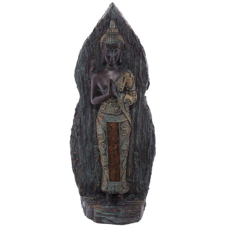 Home Decorative Wood Effect Back Verdigris Thai Buddha New Ornament Gift Ideas