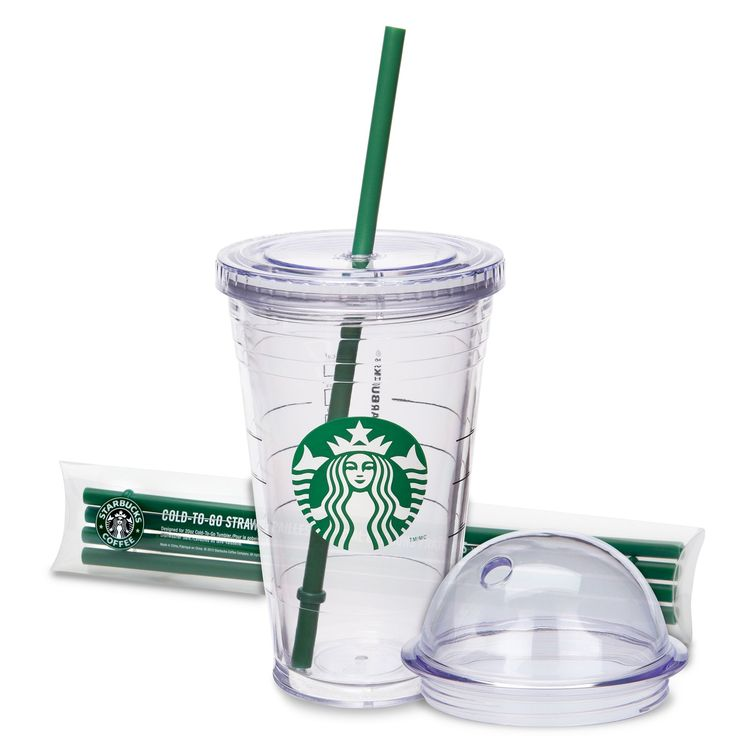 16 oz Cold Cup Kit from Starbucks with domed lid and set of 4 reusable straws. $13.95 [Although it is still plastic, at least it is a plastic cup you can use over and over and over again for your cold coffee beverages...on HOT summer days.]