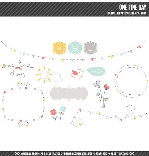 One Fine Day Digital Clipart Clip Art Illustrations - instant download - limited commercial use ok