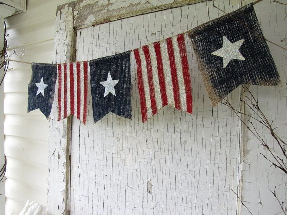 Size MED. American Flag, Patriotic, July 4th, Old Glory, USA, Painted Burlap Banner, Flag, Bunting, Pennant via Etsy