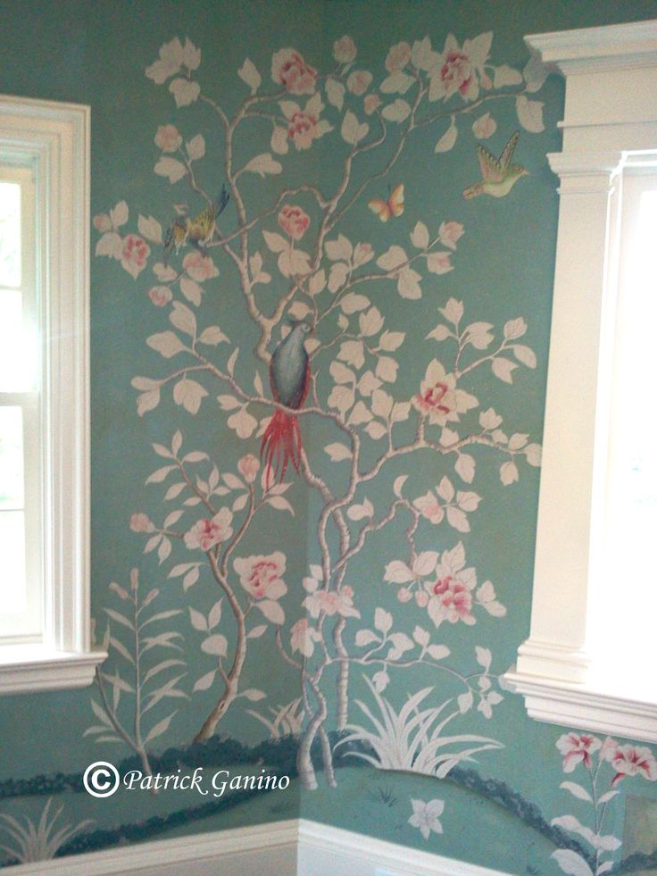 1754 best wallpapers images on pinterest fabric for Chinoiserie wall mural