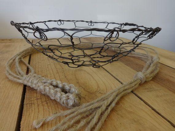 Handmade Hanging Fruit Basket : Handmade hanging wire fruit basket and