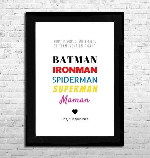 Affiche A4 : Maman et les Super-héros (couleur) : Affiches, illustrations, posters par mes-jolies-phrases