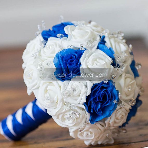 Blue And White Flowers For Weddings: Royal Blue And White Wedding Bouquet With Crystals Bridal
