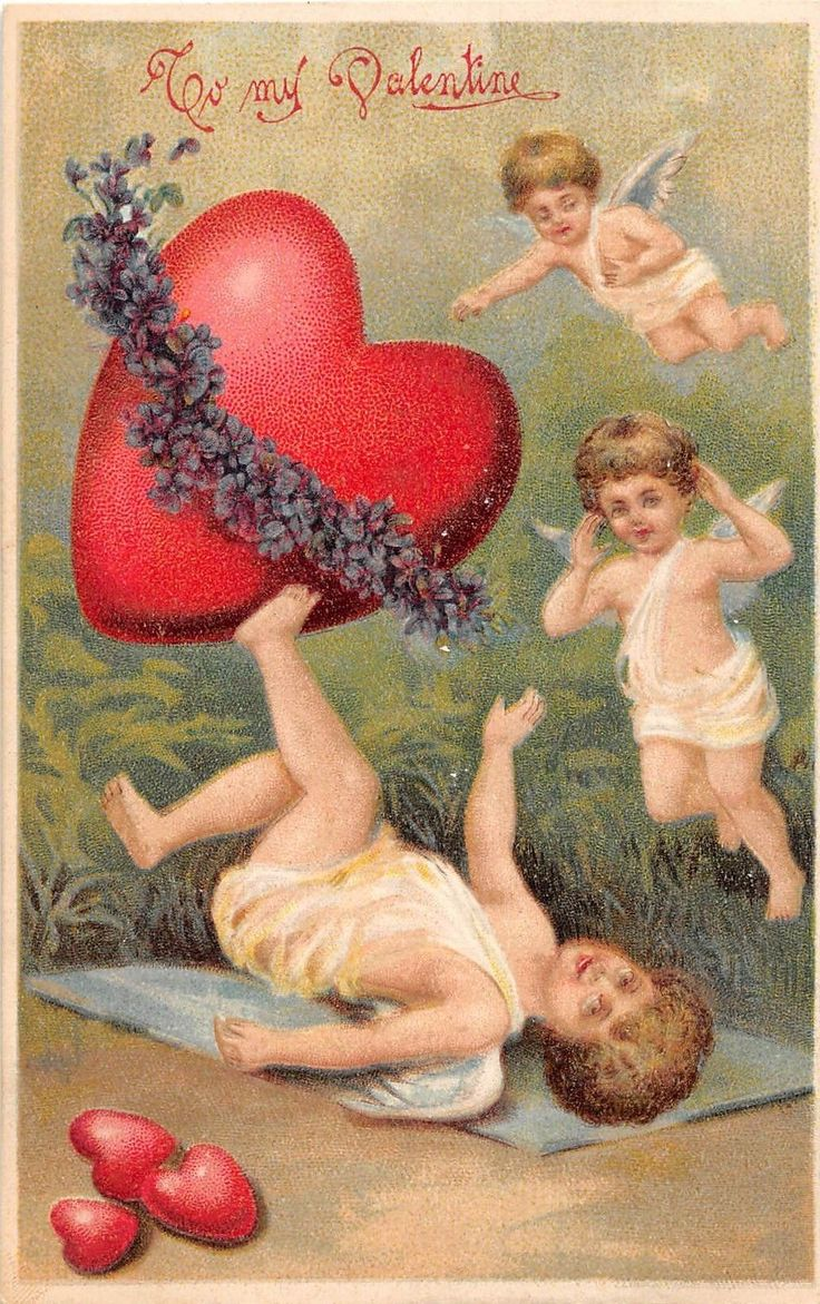 B90/ Valentine's Day Love Holiday Postcard c1910 Cupids Large Heart Embossed 21 | eBay