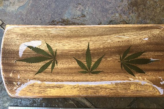 Rolling tray with real cannabis leaf marijuana leaves not a