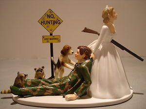 Camo Hunting Bride Groom Wedding Cake Topper Coon Dog Gun Sign Beagle
