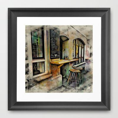 Cafe Stools Framed Art Print by AngelEowyn - $34.00