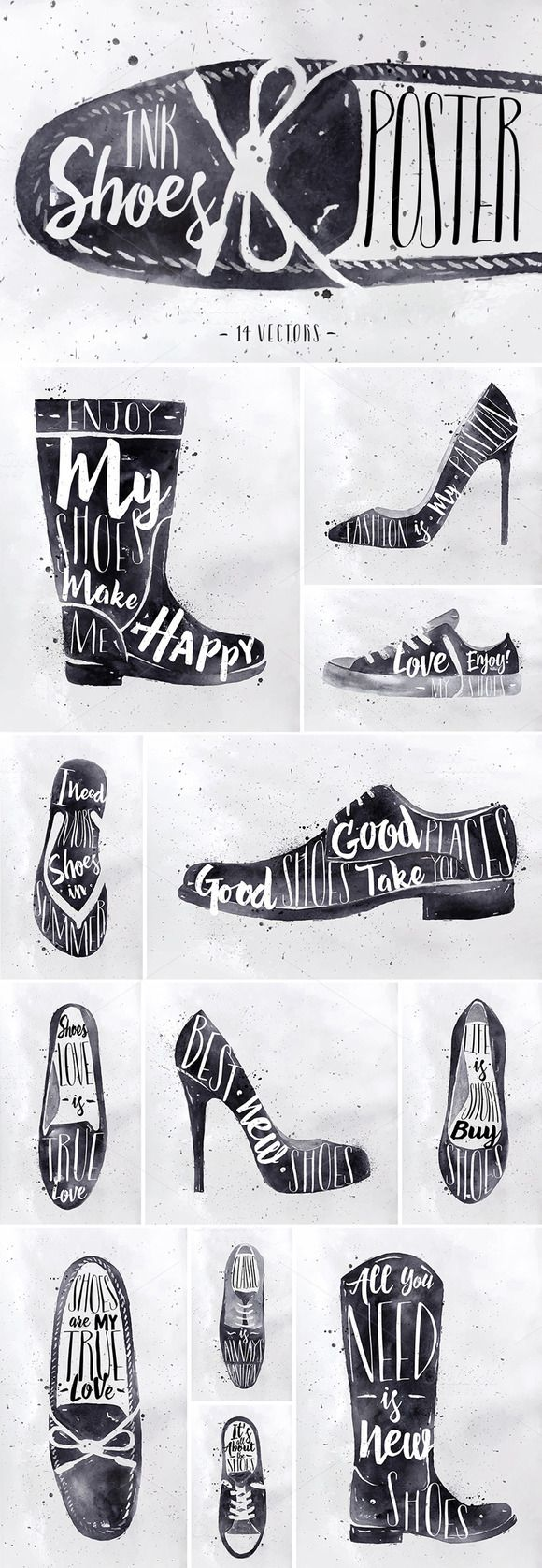Ink Shoes Poster by Anna on Creative Market