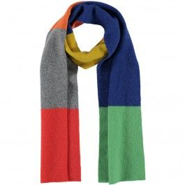 Wrap up warm in this colour block wool scarf inspired by the technicolour paint palette of David Hockney RA. The contrasting tones of cool grey, blue and green wool balance wonderfully with the intense red and yellow shades.  Featured recently in the news, as worn by Sky News political editor Faisal Islam.