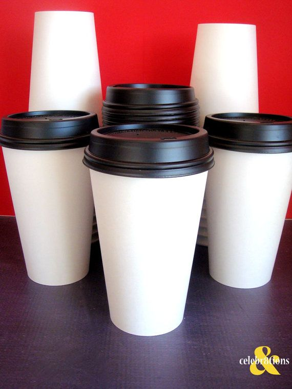 White Paper Coffee Cups with lid - Set of 25 For the Hot Chocolate bar. /Anna