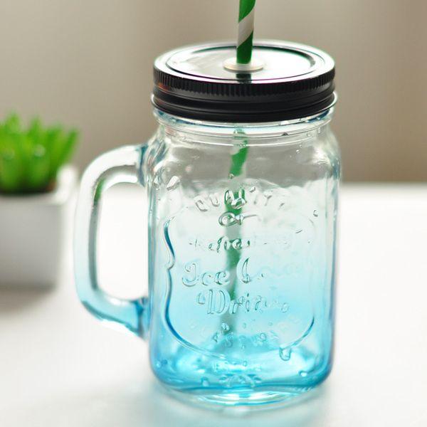 Мейсон творческий градиент цвета стеклянные бутылки Летние фруктовые напитки имеют прозрачную крышку соломенной офис чашку чая
