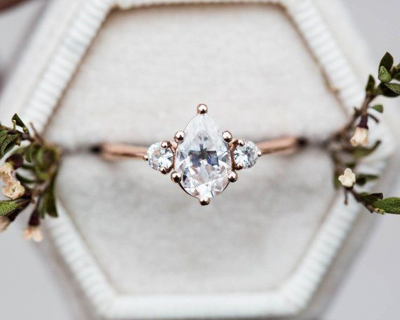 Moissanite pear three stone engagement ring, pear engagement ring, three stone r…
