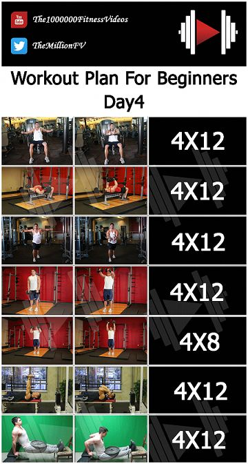 Day4 of the Workout plan for bodybuilding beginners for women or men to train ev… – body under construction