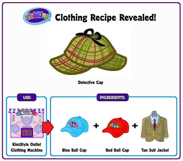 Detective Cap Clothing Recipe Revealed    WKN  Webkinz Newz. 15 best Webkinz recipes images on Pinterest   Secret recipe