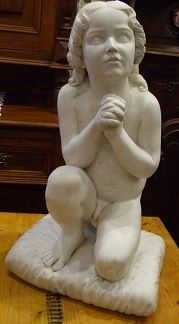 For Sale Antique Original Luigi Pampaloni MARBLE sculpture statue Praying boy 68cm high, 75kg - if you are interested in, contact by direct message