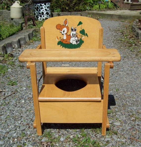 Vintage Wood Deer Bunny Fold Up Child's Potty Chair