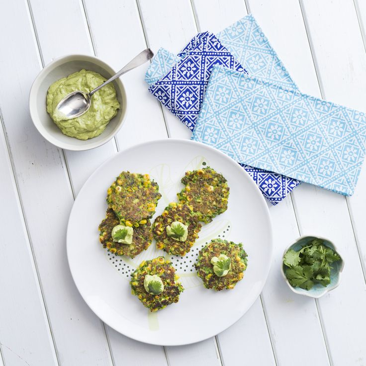 Corn and coriander fritters with avocado tahini | Thermomix | Vegetarian Kitchen cookbook and recipe chip | p. 60 |