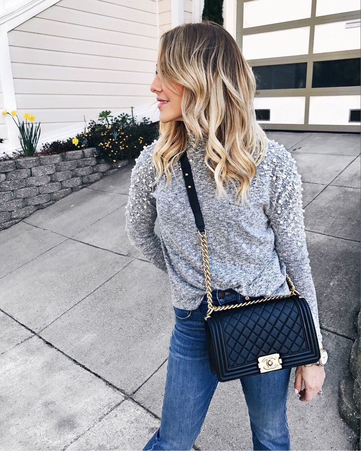 Pearl Sweater, Skinny Jeans, Channel bag    #springstyle #springfashion #casualstyle