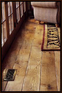 wide plank oak.. my soon to be floor, with a darker stain <3