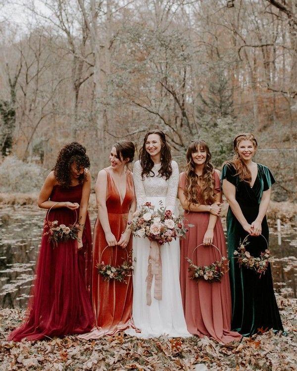 Top 10 Bridesmaid Dresses Trends And Colors Fall Bridesmaid Dresses Bridesmaid Dresses Boho Velvet Bridesmaid Dresses