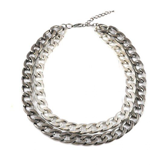 #fashion #australia #melbourne #fashionstore -   Double chunk chain necklace with silver and gun metal plated together on adjustable neckline. Pair crisp white shirt, skinny jeans and ankle boots Nickle free.    We deliver anywhere in Australia, incl