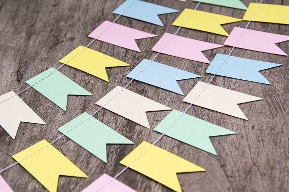 Pastell Papier Girlande bunting, Hochzeit Girlande Dekor, Fahne Flagge, Flagge Girlande, Partei Wohnkultur, Kindergarten-banner