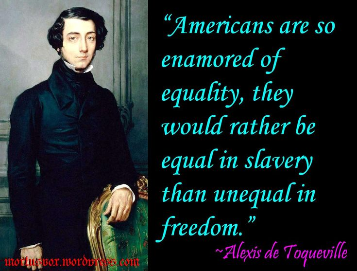Americans are so enamored of equality that they would rather be equal in slavery than unequal in freedom. ~ Alexis de Tocqueville