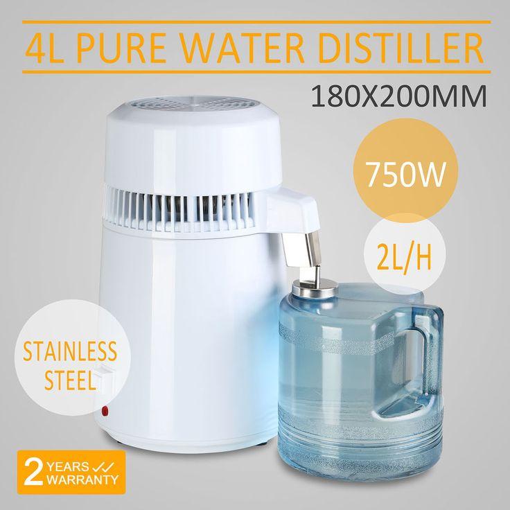 4L WATER DISTILLER PURIFIER STAINLESS STEEL DISTILLED PURIFIED HOME MEDICAL #VEVOR