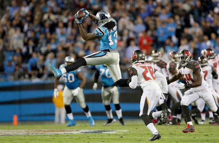 Monday Night Football: Buccaneers vs. Panthers:     October 10, 2016, 17-14, Buccaneers  -      Kelvin Benjamin of the Carolina Panthers makes a leaping catch against the Tampa Bay Buccaneers in the second quarter during their game at Bank of America Stadium on Oct. 10, 2016 in Charlotte, N.C.